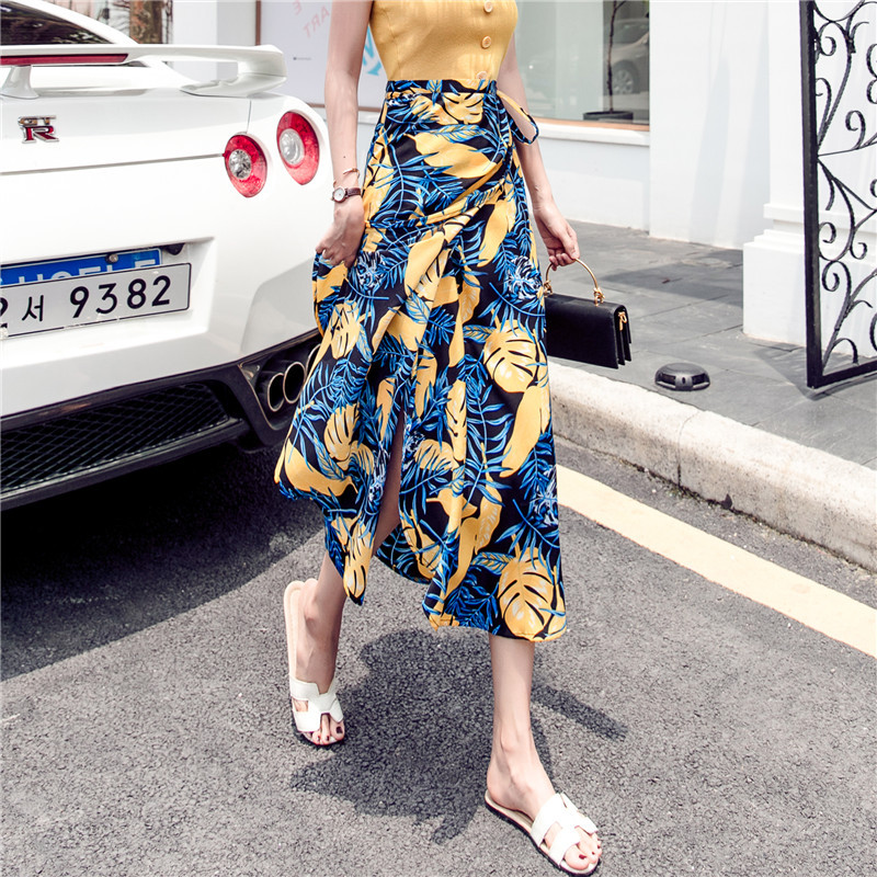 Chiffon Floral-Print Long Skirts Beach Skirt Holiday Skirt Women's Summer New Style Solid Wrap Skirt