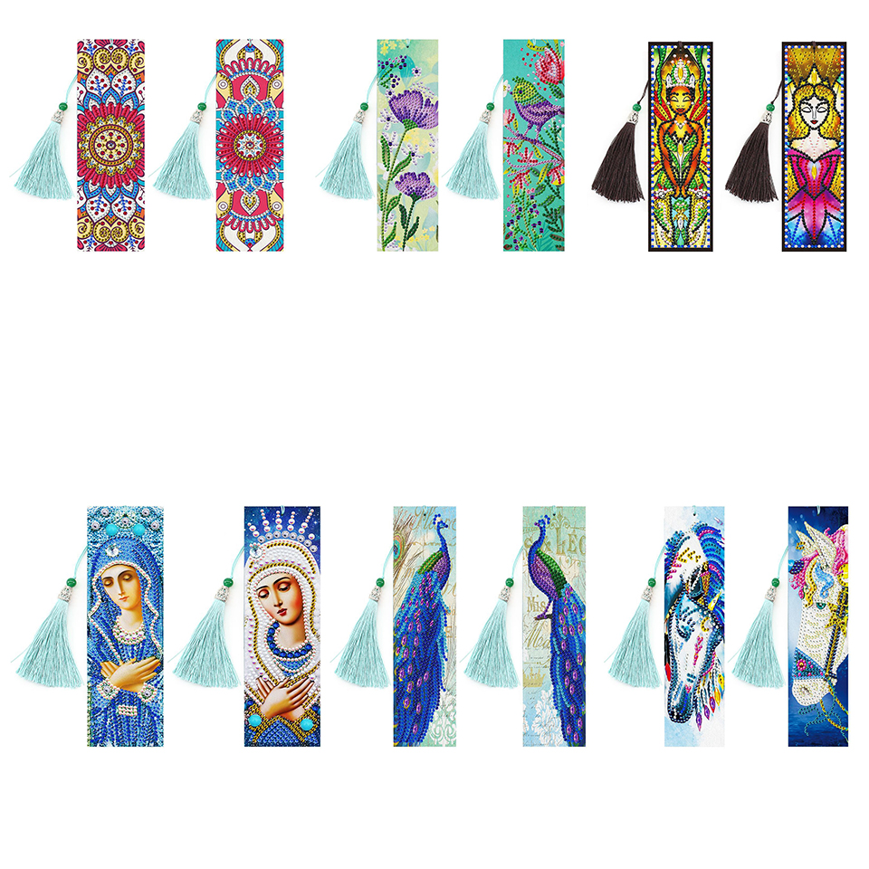 5D DIY Special Shaped Diamond Painting Leather Bookmark Diamond Embroidery Craft Tassel Book Marks for Books Gifts Religious|Diamond Painting Cross Stitch| - AliExpress