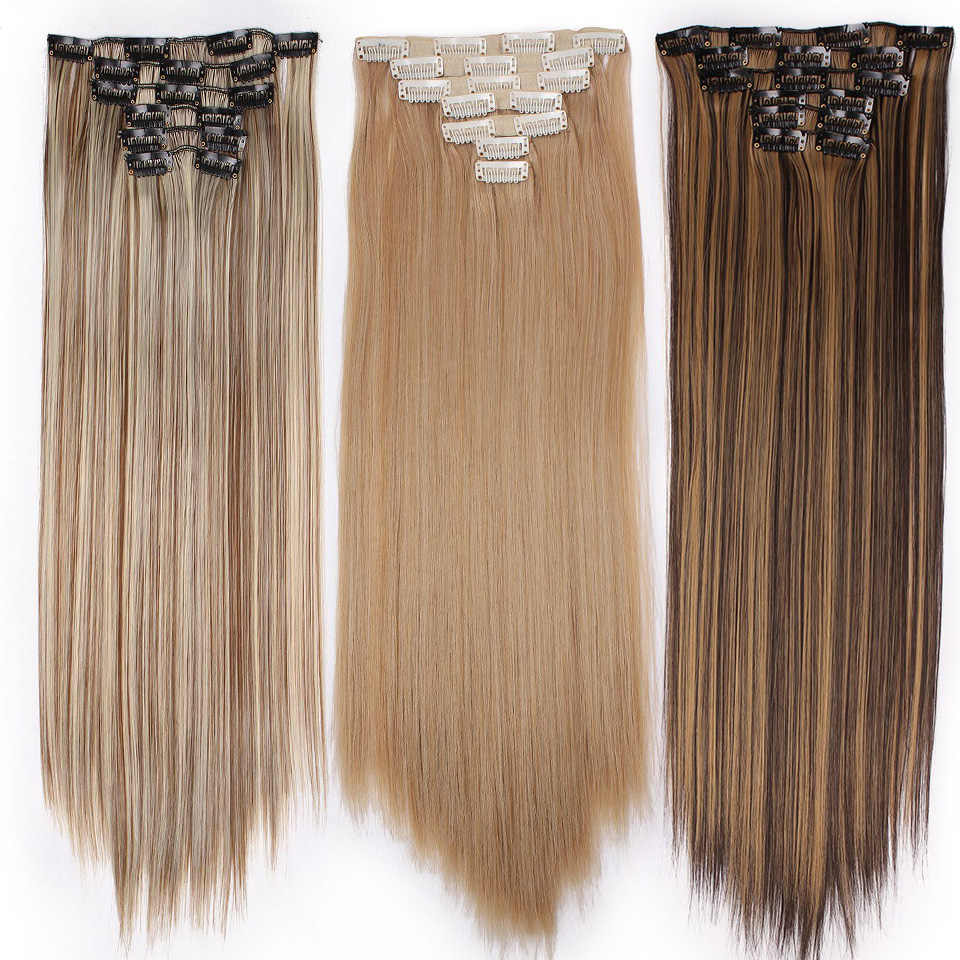 Lente sunshine 22 ''140G Lange Blonde Straight Clip In Hair Extensions Synthetische Fake Haarstukje Valse haar 16Clips
