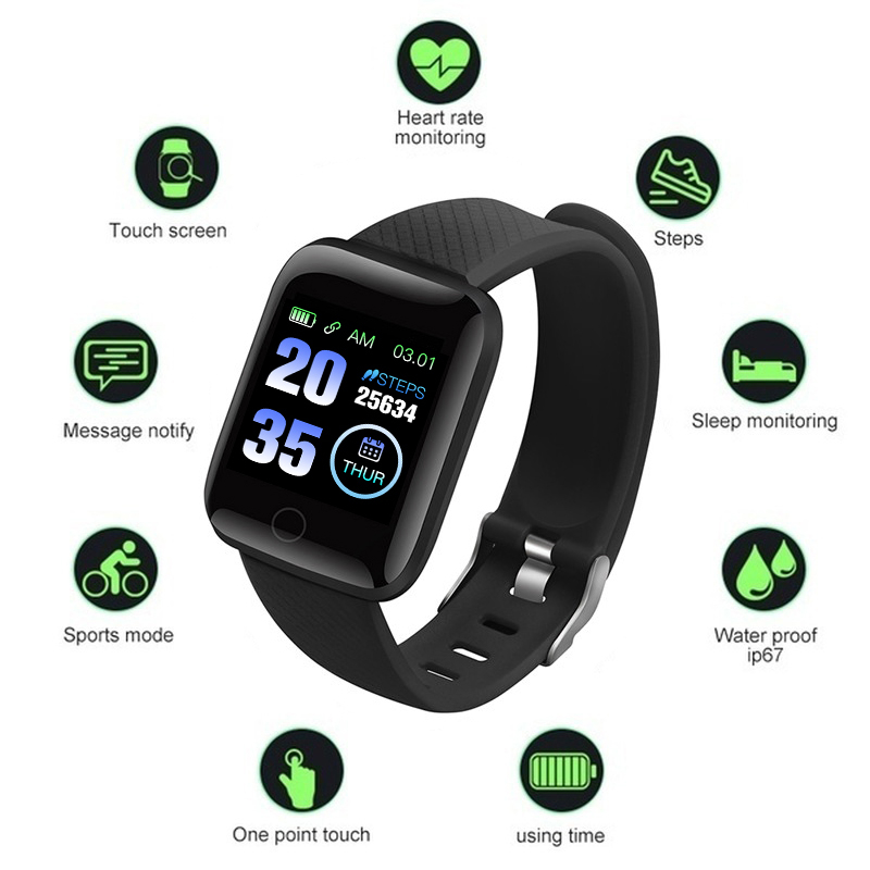 TEZER 116plus Smart Watch Blood Pressure Measurement Heart Rate Monitor D13 Smart bracelet with 1.3 inch High Resolution Screen