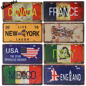 Worldwide Popular States License Plate Poster Vintage Wall Decor Canada/France/Mexico Metal Tin Sign Plaques Poster 15x30cm(China)