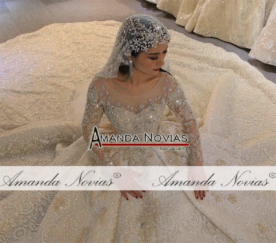 Image 3 - Платье для свадьбы Amanda Novias, роскошный дизайн, с длинным рукавом, 2020Свадебные платья    АлиЭкспресс