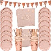 78 sztuk/zestaw różowe złoto folia kropki Tablewares dekoracje serwetka puchar płyta jednorazowe dorosłych dekoracje na przyjęcie urodzinowe weselna zastawa stołowa