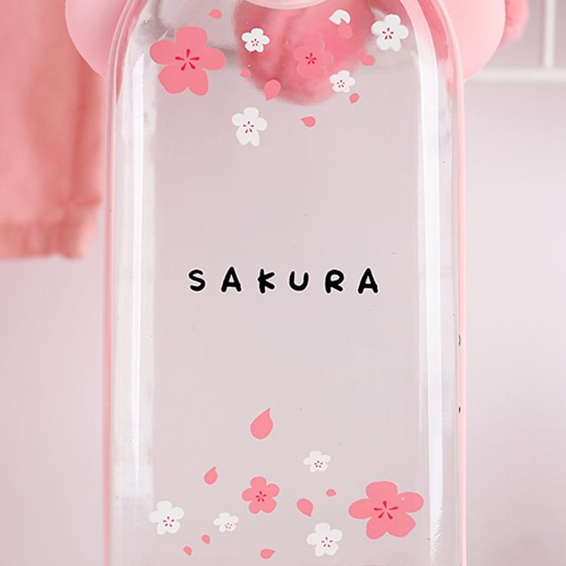 Kawaii Portable Cherry Blossom Sakura Glass Bottle 4