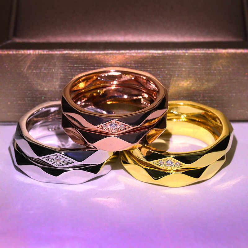Clássico masculino feminino anel de aço inoxidável prata cor do ouro anel de noivado do vintage anéis de casamento para o casal
