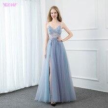 YQLNNE סקסי שמיים כחולים חרוזים ארוך ערב שמלות ארוך רצועות טול סדק ימין ללא משענת ערב מסיבת שמלות YQLNNE