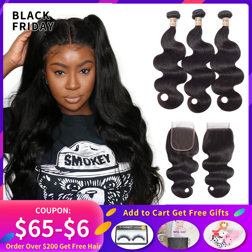 Riverwood Human Hair Weave 3/4 Bundles Malaysian Body Wave Bundles With 4*4 Lace Closure 100% Remy Hair Extensions Free Shipping