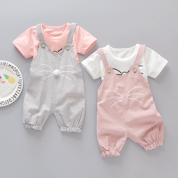 2020 Summer Newborn Baby Girl Set Casual Cartoon T-shirt Pants 2Pcs Baby Suit For Baby Girls Clothes Outfits Kids Clothing Set baby girl summer clothing set 2017 kids girls boutique outfits 2pcs pants shirts brand fashion baby white shorts and black pants
