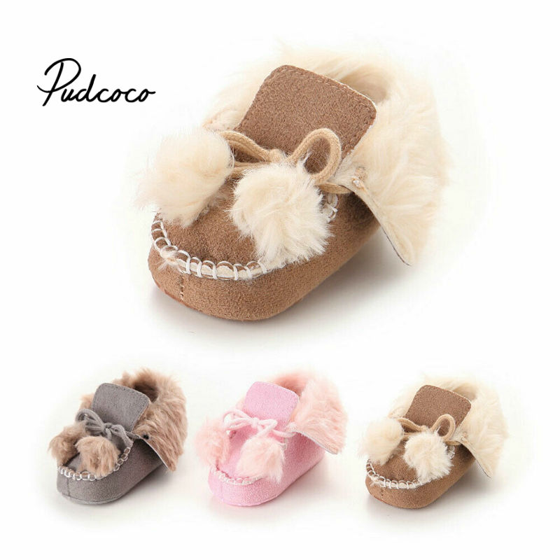 Pudcoco Warm Winter New Girls's Thickening Fur Snow Boots Lace-up Solid Ankle Size 11-13 Rubber Outsole Cotton Shoes For Kids
