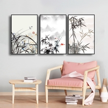 Laeacco Bamboo Forest Scenery Oil Painting Wall Art Canvas Room Decor Posters And Prints Wall Pictures Modern Home Decoration laeacco nordic oil painting abstract forest landscape canvas posters and prints wall art canvas painting modern room decoration