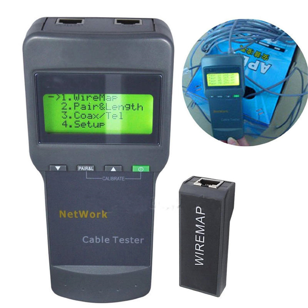 SC8108 Portable Multifunction Tester Digital LCD Wireless PC Data Network CAT5 RJ45 LAN Phone Detector Meter Length Cable Tester