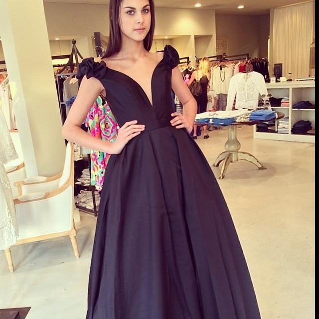 Sexy Deep V Neck Custom V Cut Back A Line Dark Matte Satin Long Evening Gown Abendkleider 2018 Mother Of The Bride Dresses