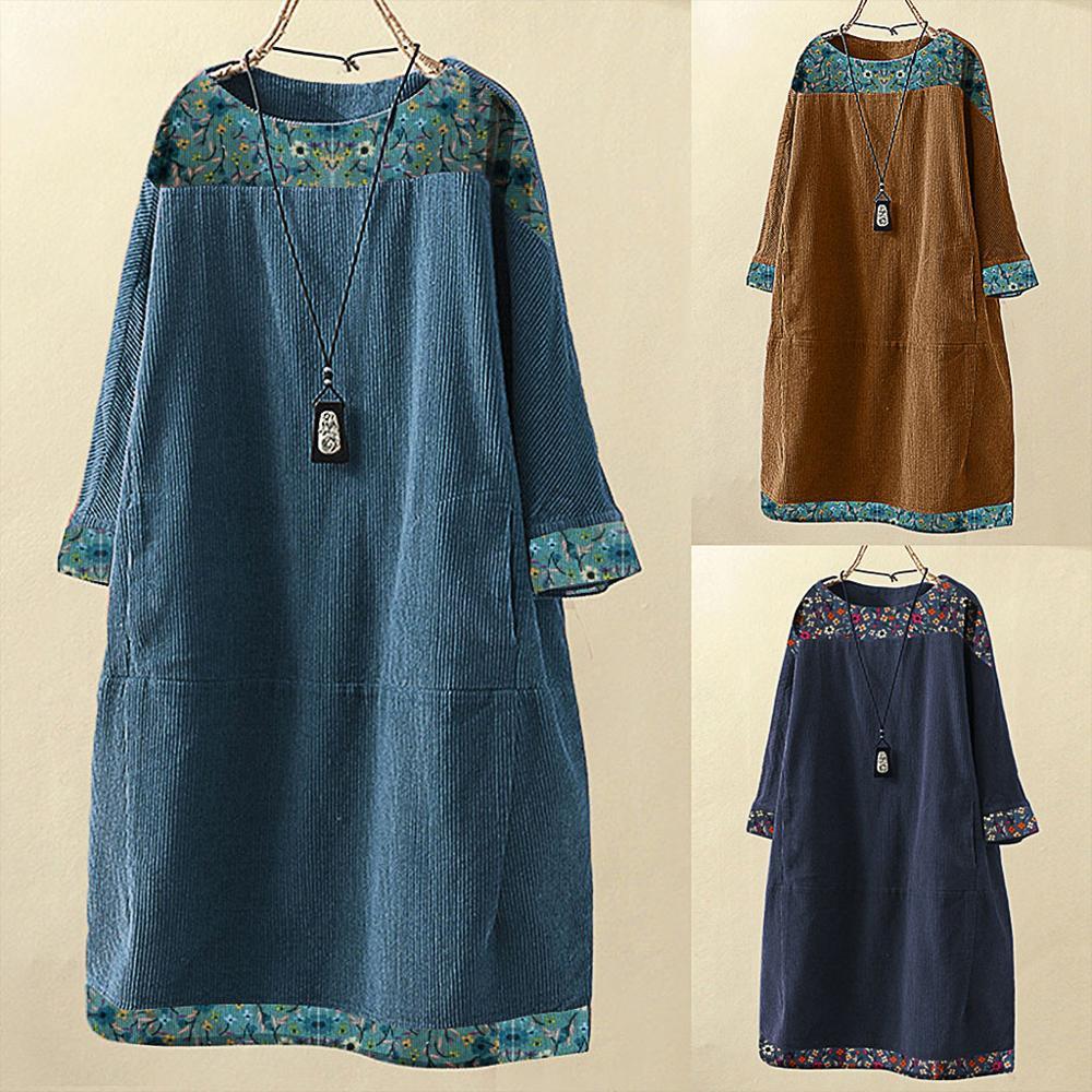2020 Autumn Winter Dresses Women Vintage Corduroy Ethnic Print Patchwork Long Sleeve Pockets Loose Dress Plus Size 5XL