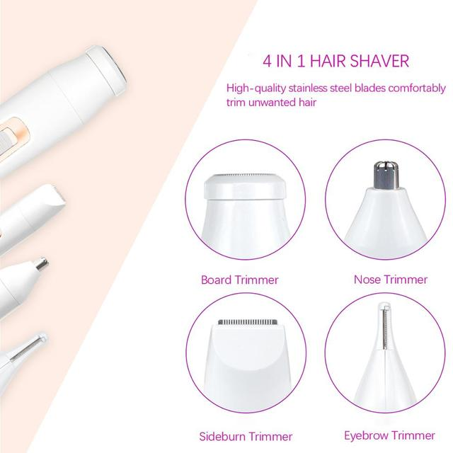 Rechargeable 4 In 1 Epilator Hair Nose Remover Beard Eyebrow Portable USB IPX7 Waterproof Trimmer Women Electric Shaver Machine 2