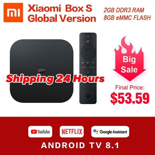 Original Global Xiaomi Mi Box S 4K Ultra HDR Android TV 8.1 Mi Boxs 2G 8G WIFI Google Cast Netflix Set Top Mi Box 4 Media Player