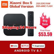 Оригинальный Глобальный Xiaomi Mi Box S 4K Ultra HDR Android TV 8,1 Mi Boxs 2G 8G WIFI Google Cast Netflix телеприставка Mi Box 4 медиаплеер