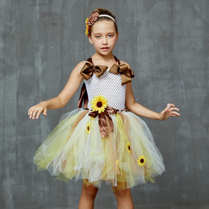 Sweet Sunshine Sunflower Tutu Dress with Matching Headband Flower Girl Bridal Birthday Pageant Costume Kids Autumn Dresses (8)