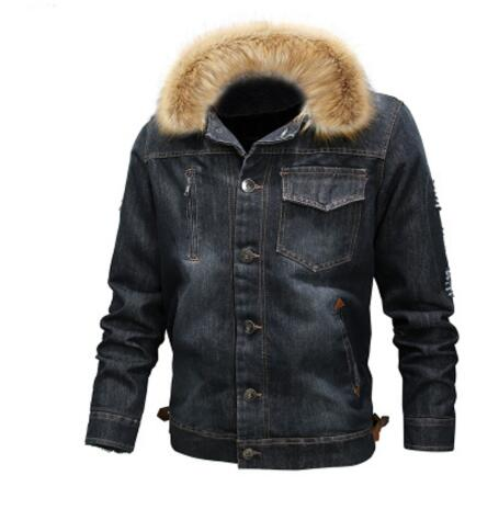 2016Mountainskin Men's Thick Denim Jacket Winter Autumn Male Fur Collar Velvet Coat Male Fashion Windproof Denim Coat S ~ 6XL