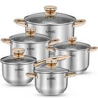 Набор посуды, кастрюля для супа из нержавеющей стали, тушеные кастрюли для приготовления пищи, индукционная плита, кастрюля, кухонная кастр...