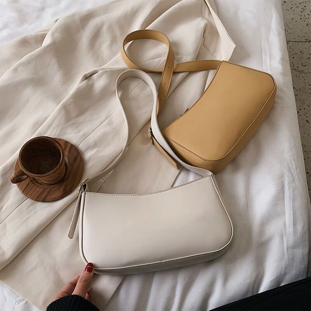 Cute Solid Color Small PU Leather Shoulder Bags For Women 2021 Summer Simple Handbags And Purses Female Travel Totes 4