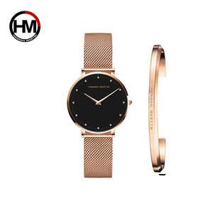 Image 3 - 1 세트 시계 & 팔찌 일본 쿼츠 무브먼트 심플 여성 방수 탑 럭셔리 브랜드 패션 스테인레스 스틸 여성 시계