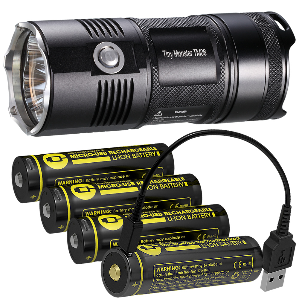 NITECORE светодиодный фонарик TM06 4000лм прожектор с 4x18650 USB портом перезаряжаемый аккумулятор для охоты, рыбалки, фонарь освещения