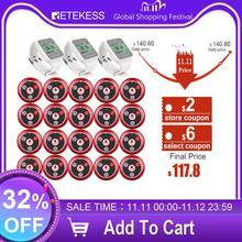 Беспроводная система вызова Retekess, пейджер для ресторана, вызов официанта, обслуживание клиентов 3 TD108, часы приемники + 20 шт., кнопка вызова T117