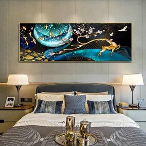 Image 5 - QIANZEHUI, bordado de diamantes, ciervo de diamante redondo en la Luna Diamante de imitación completo pintura de diamantes punto de cruz, costura