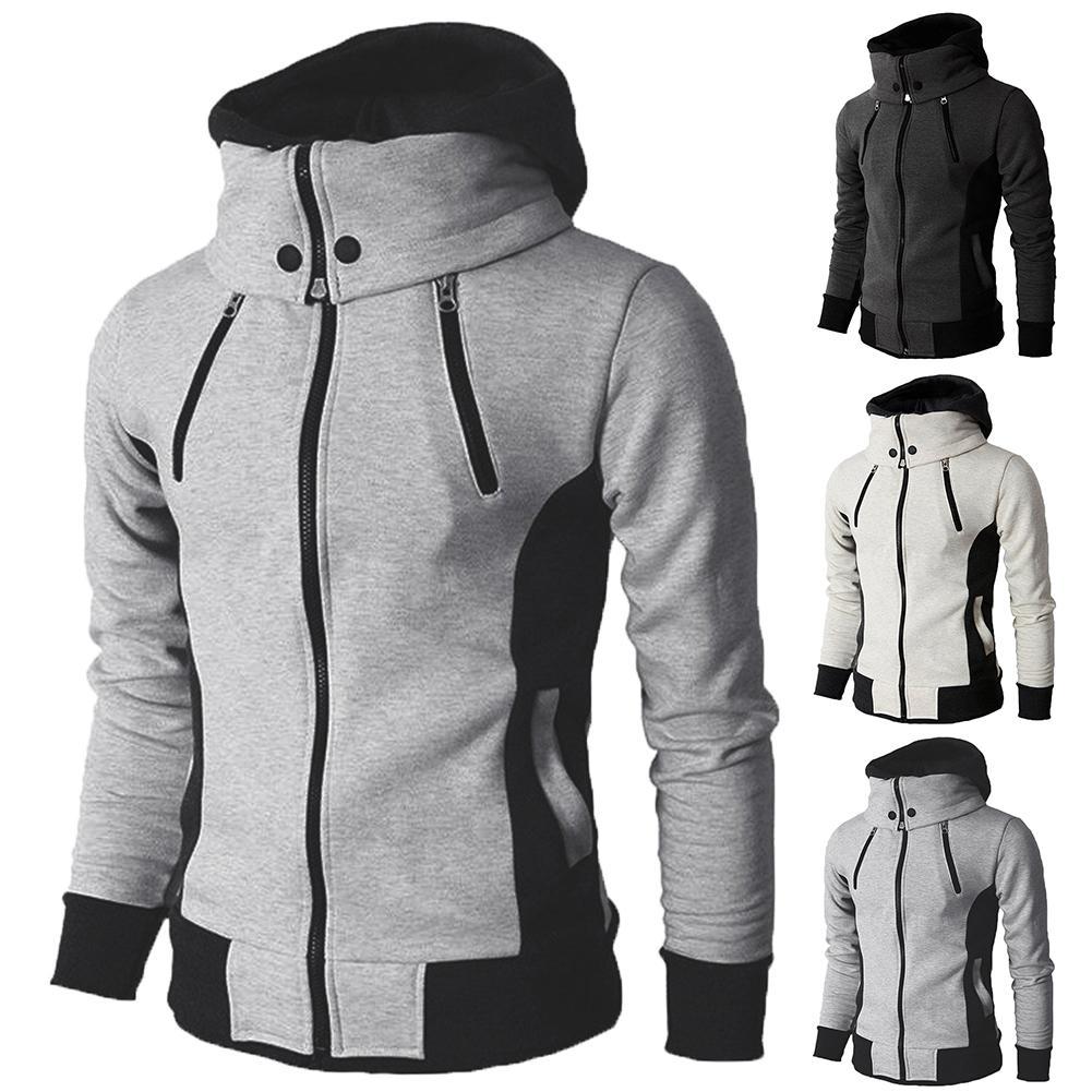 Winter Jackets Men Plus Size Coats Jackets Men Fake 2 Pieces Color Block Hooded Coat Jackets Long Sleeve Zip Mens Jacket Coat