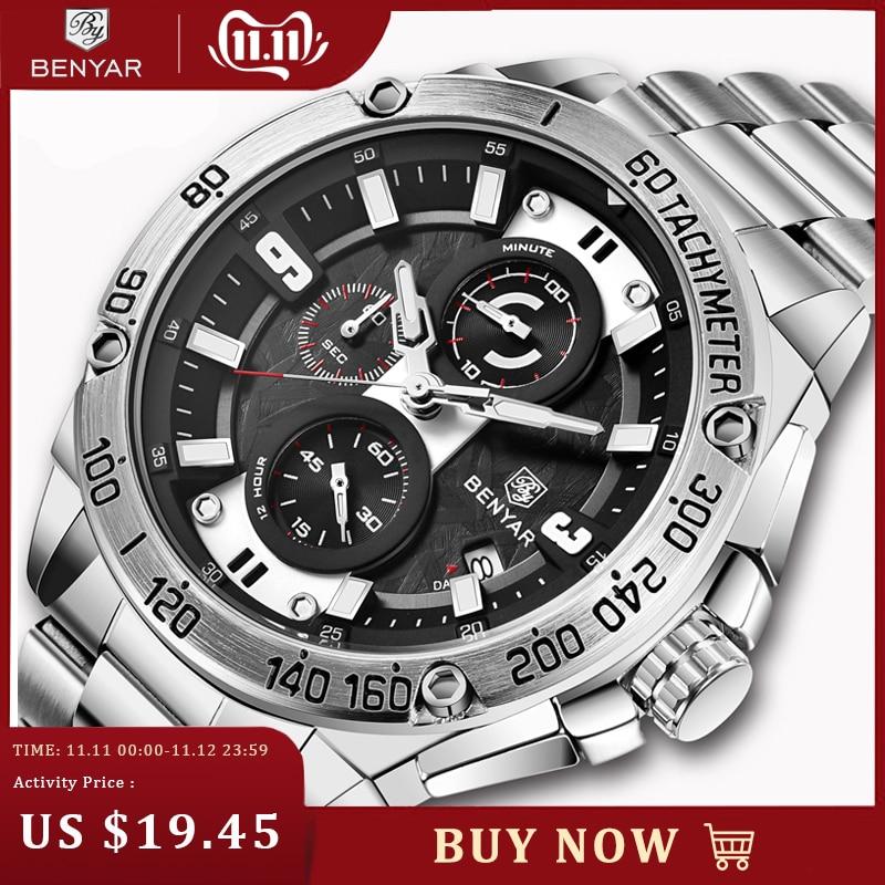 2019 New BENYAR Men's Watches Top Brand Luxury Watch Men Sports Watches Chronograph Waterproof Business Watch Relogio Masculin