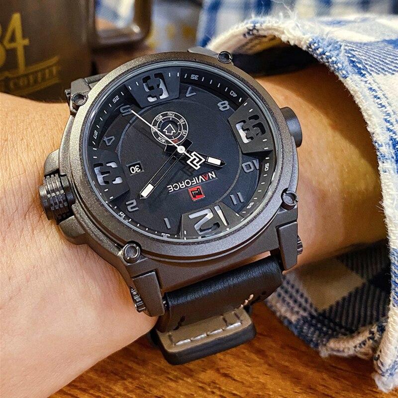 Top marque de luxe NAVIFORCE hommes sport montres hommes armée militaire en cuir montre à Quartz mâle étanche horloge Relogio Masculino | AliExpress