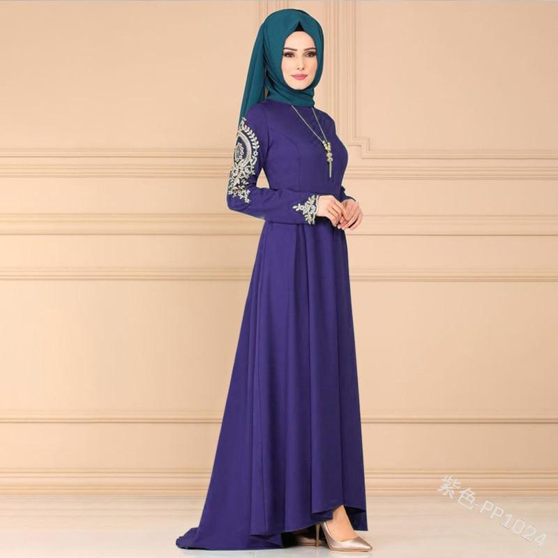 Women printed robe long Sleeve maxi Dress plus size irregular hem gown Eid Ramadan kaftan Islamic muslim abaya Jubah Djellaba Women Women's Abaya Women's Clothings cb5feb1b7314637725a2e7: black|Blue|Purple|Red