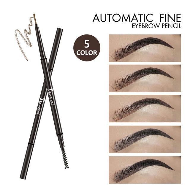 Teayason Double Ended Super Slim Eyebrow Pencil & Eyebrow Brush Waterproof Long Lasting Black Brown Eyebrow Tatoo Pen Cosmetics 5