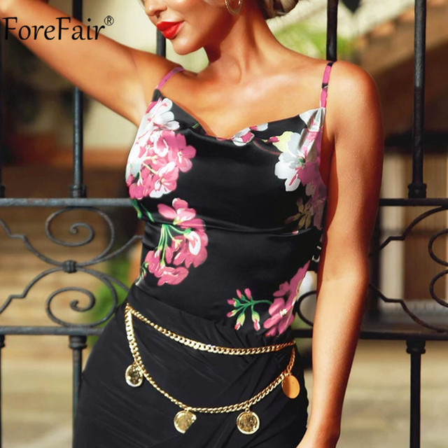 Forefair Spaghetti Strap Flower Print Top Satin Sexy Summer Party Women Cami Sleeveless Backless Fashion Ladies Clothes 4
