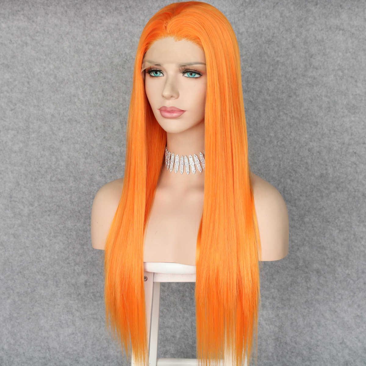 Lvcheryl pomarańczowa syntetyczna koronka przodu peruki realistyczny wygląd długi jedwabisty prosto pół ręka wiązane żaroodporne kobiety włosy peruki