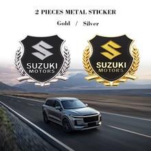 2 pçs 3d emblema da porta lateral do carro de metal emblemas adesivos estilo do carro decalques para suzuki vitara sx4 swift dzire ignis alto spacia jimmy