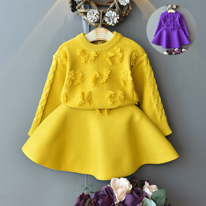 Baby girl clothes tassel knitted sweater baby warm knit sweater suit baby girl clothes round neck knitted sweater two-piece set