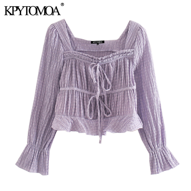 KPYTOMOA Women 2020 Sweet Fashion Lace-up Ruffled Cropped Blouses Vintage Square Collar Long Sleeve Female Shirts Chic Tops