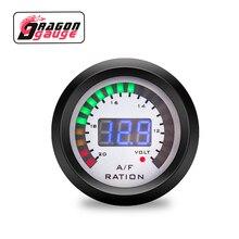 """「 DRAGON 」 стиль """" 52 мм расходомер воздушно-топливного соотношения с функцией обнаружения напряжения цифровой дисплей 12 Вольт Аксессуары для ремонта автомобиля"""