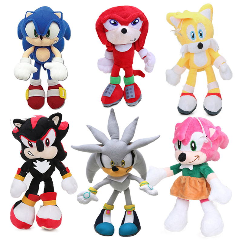 5pcs 20-27cm Sonic Toys Super Sonic The Hedgehog Plush Toy Sonic Shadow Knuckles Tails Cute Soft Stuffed Dolls Keychain Keyring
