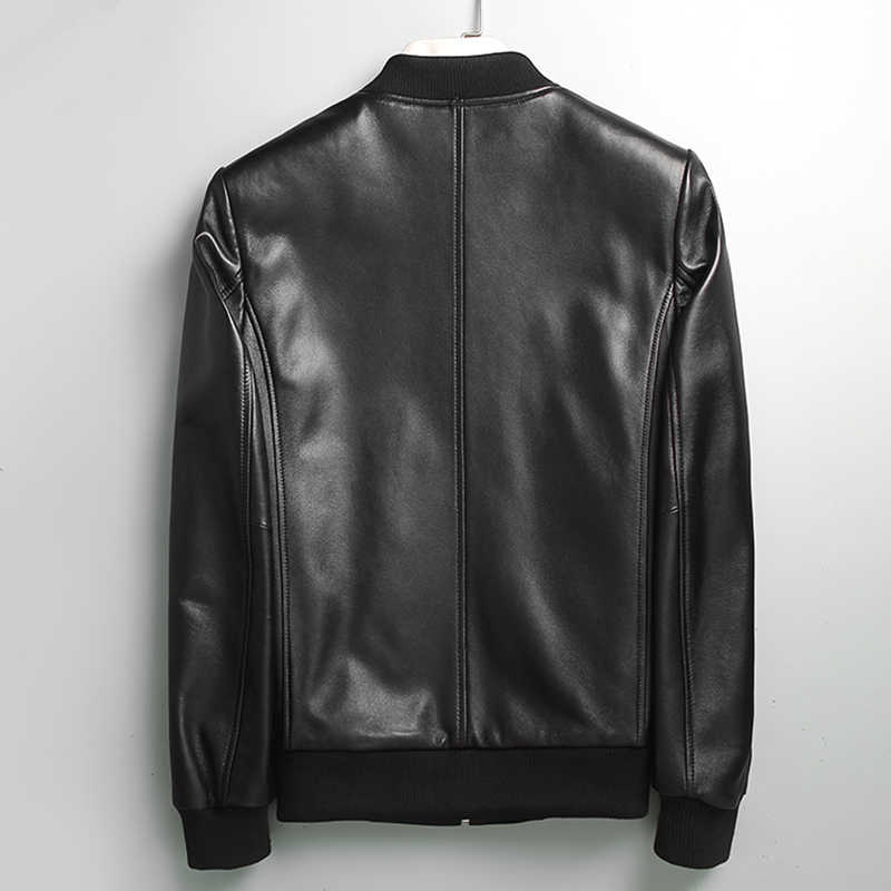 Yolanfairy geniune シープスキンレザージャケット男性春秋のストリートプラスサイズボンバージャケット 71I6086 MF111