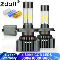 Zdatt H4 LED Auto beam H11 H7 Led Bulbs Canbus 9005 9006 100W 12V Lamp 12000LM lamps for Cars 3000K 6000K 8000K Running Light