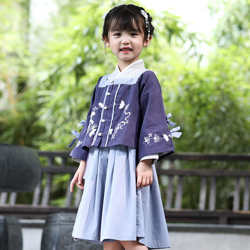 Children Hanfu Chinese Style Ancient Autumn Kids Clothing Qing Dynasty Traditional Girls Fairy Costumes Catwalk Outfit DQL2382