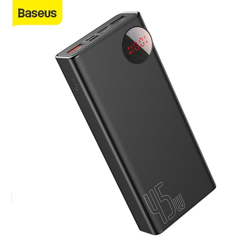Внешний аккумулятор Baseus PD3.0, 20000 мАч, быстрое зарядное устройство QC, 45 Вт, быстрая зарядка, портативное зарядное устройство для телефона