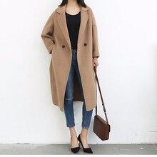 Fashion long single button double Wool Coat Women soild Wint