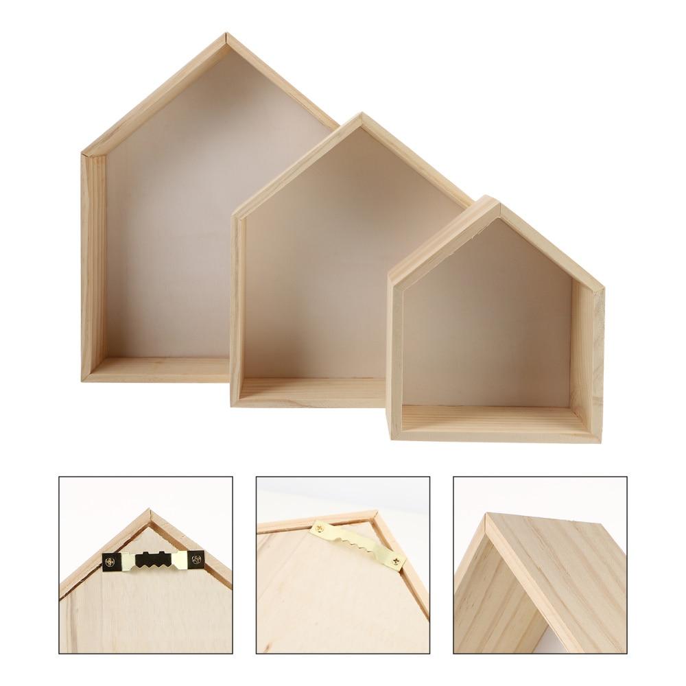 3pcs Creative Wood House Shape Floating Shelf Wall-mounted Storage Rack