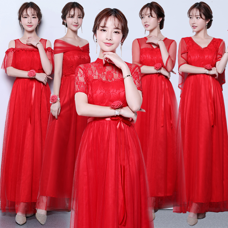 Maid Of Honor Dresses For Weddings Guest Vestido Azul Marino Red Bridesmaid Dress Tulle Sleeveless Sexy Dress Prom