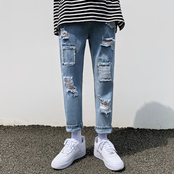 Summer Ripped Jeans Men's Fashion Casual Straight Jeans Trousers Men Streetwear Wild Loose Hip-hop Hole Denim Pants Mens envmenst brand high quality men s jeans hole casual ripped jeans men hiphop pants straight jeans for men denim trousers