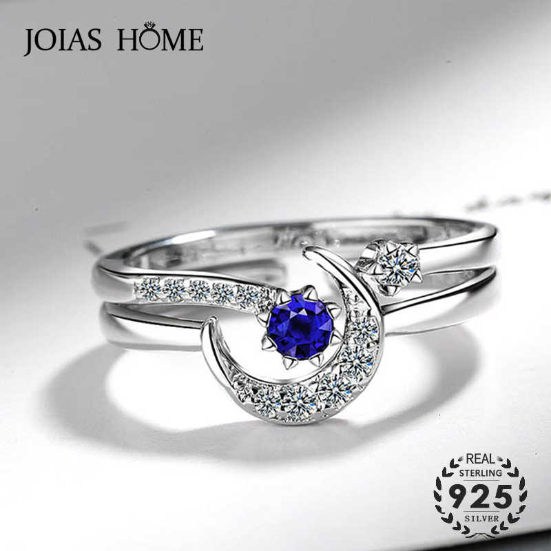 JoiasHome Fashion 925 Silver Ring With  Star Moon Shape Sapphire Zircon Gemstones Open Ring For Women Wedding Gifts 2PCS/LOT