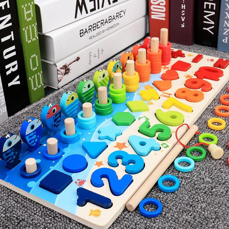 Обучающие деревянные игрушки Монтессори, Детская плотная доска, математическая рыбалка, детская деревянная Дошкольная игрушка Монтессори ...